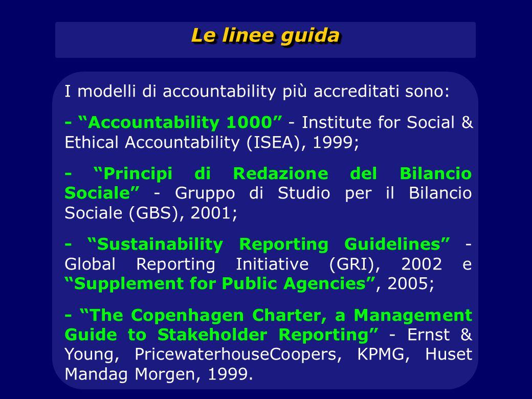 Le linee guida I modelli di accountability più accreditati sono: