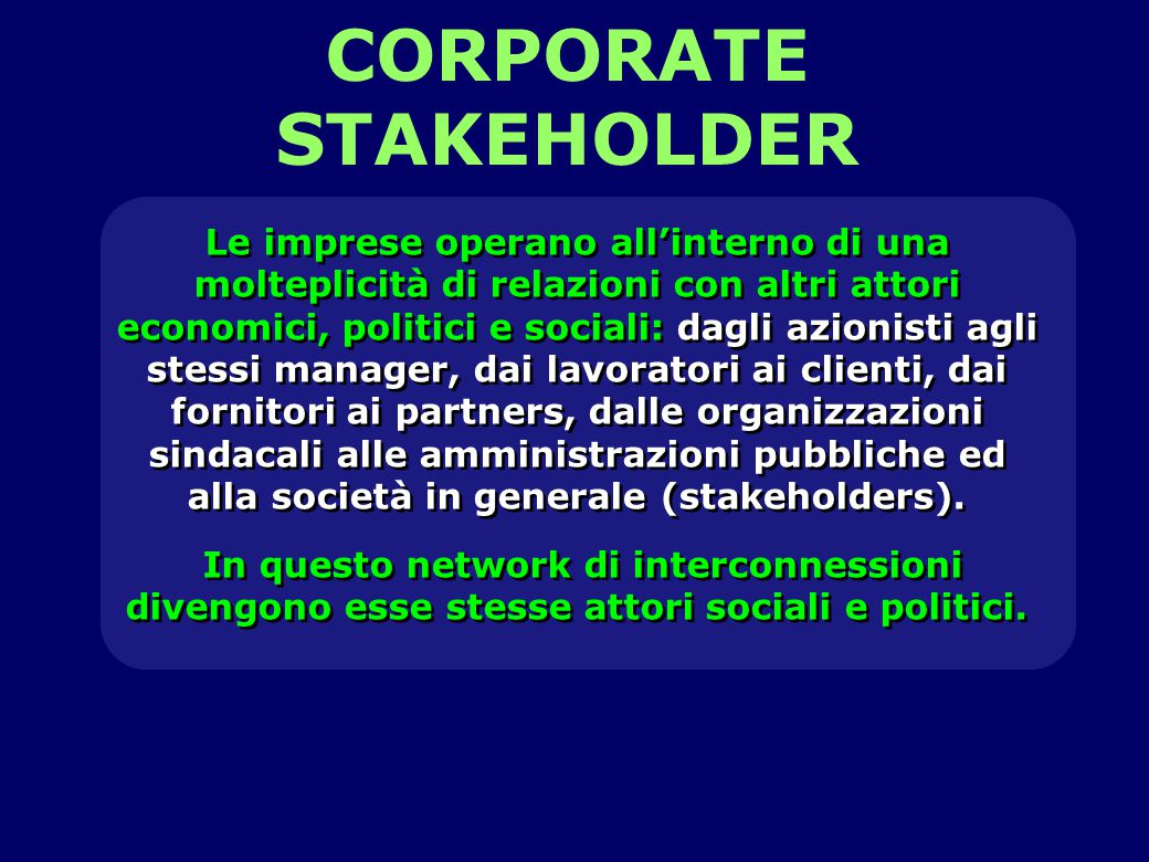 CORPORATE STAKEHOLDER