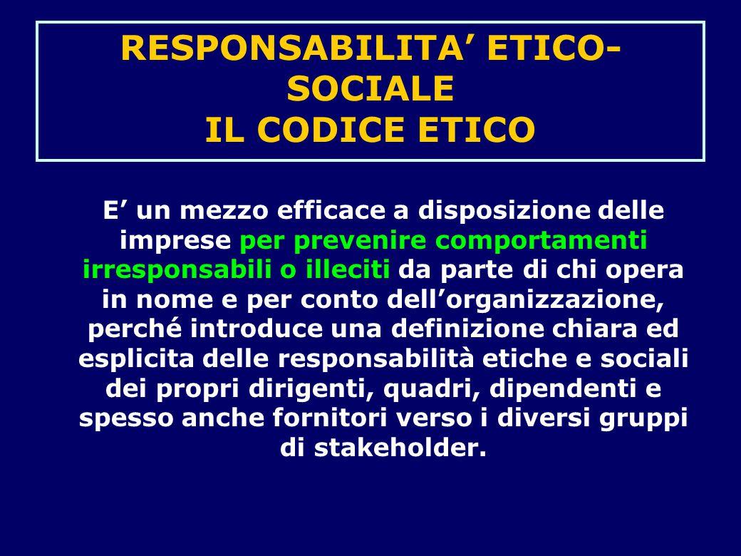 RESPONSABILITA' ETICO-SOCIALE IL CODICE ETICO