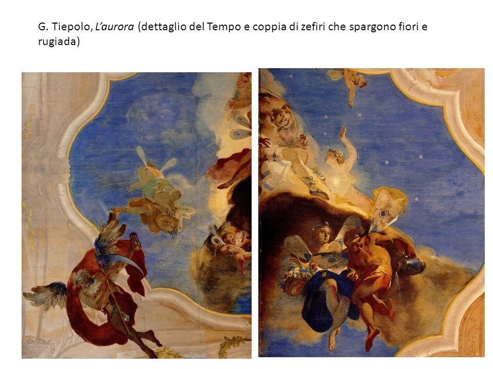 G. Tiepolo, L'aurora (dettaglio del Tempo e coppia di zefiri che spargono fiori e rugiada)