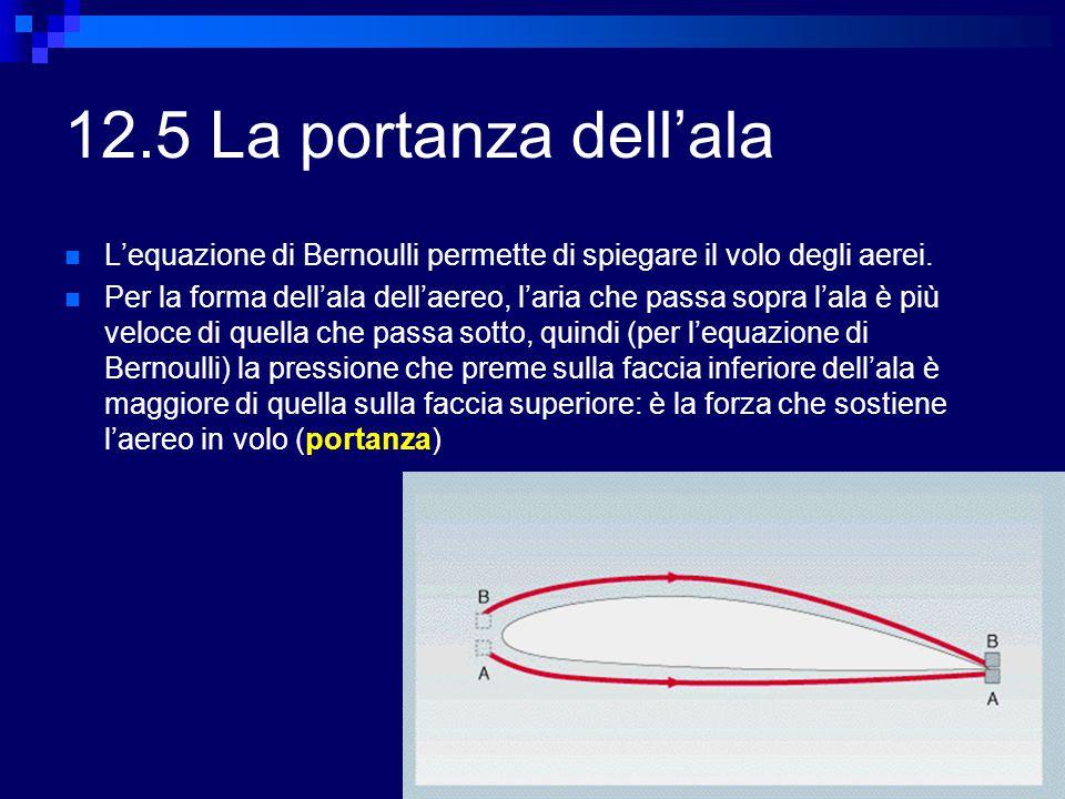 12.5 La portanza dell'ala L'equazione di Bernoulli permette di spiegare il volo degli aerei.