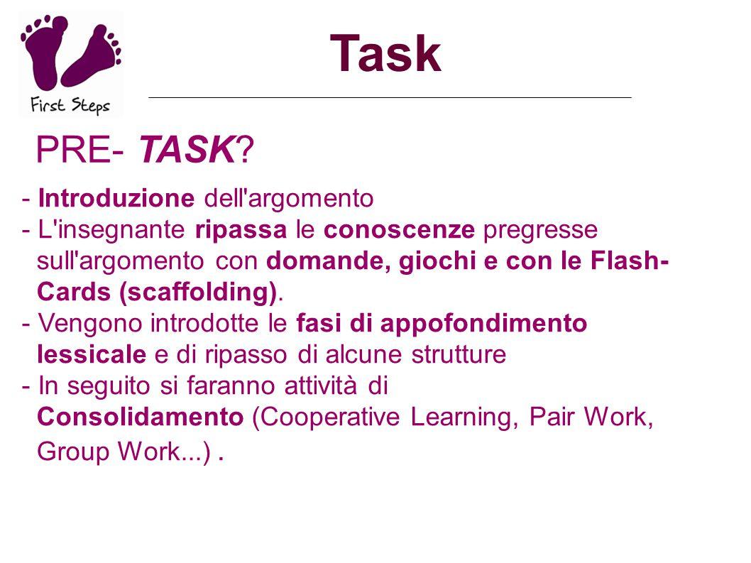 Task PRE- TASK - Introduzione dell argomento