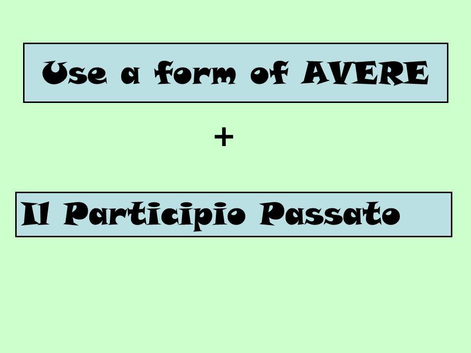Use a form of AVERE + Il Participio Passato