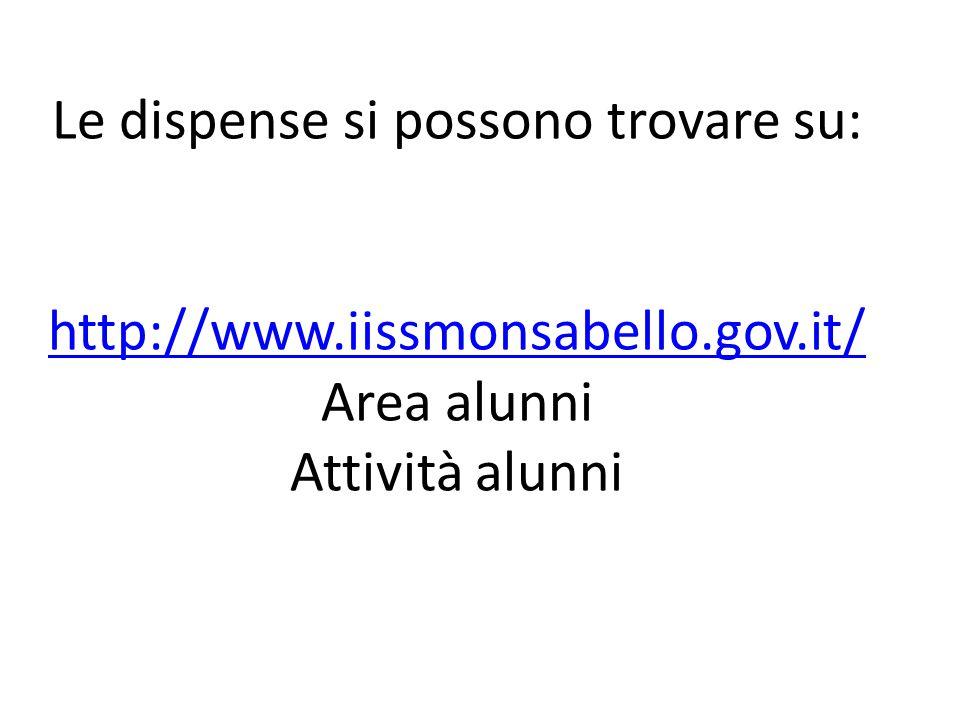 Le dispense si possono trovare su: http://www. iissmonsabello. gov