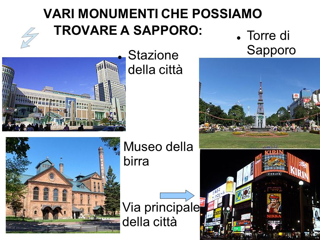 VARI MONUMENTI CHE POSSIAMO TROVARE A SAPPORO: