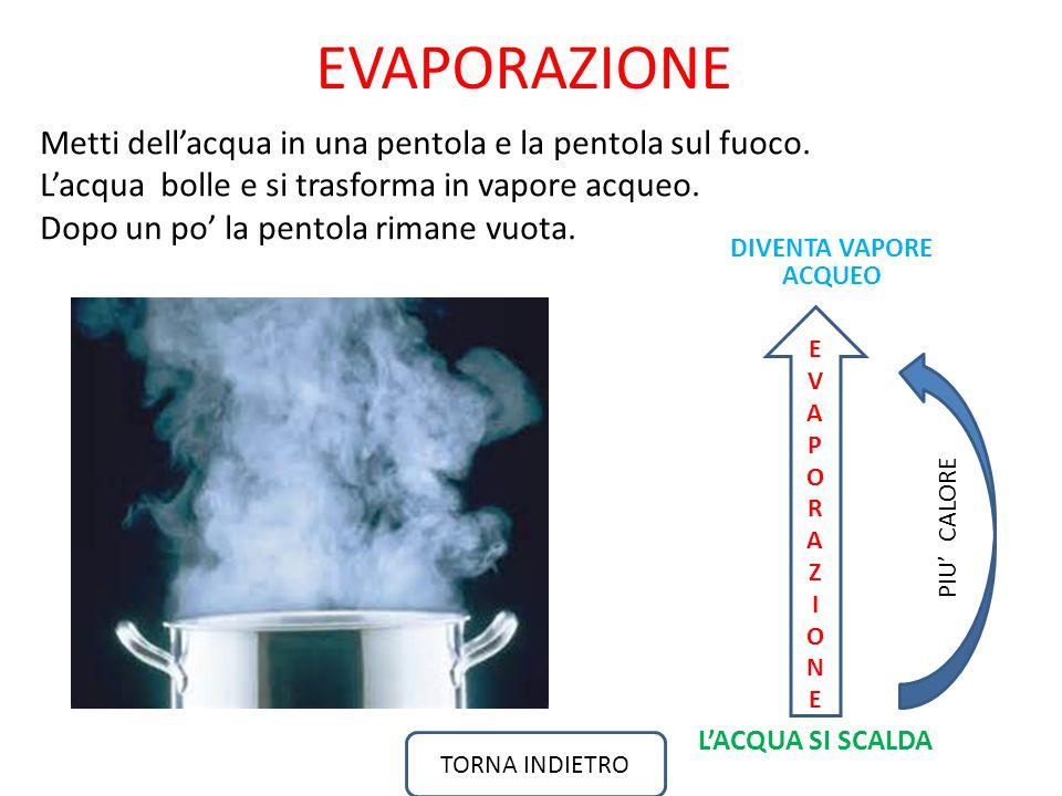 EVAPORAZIONE Metti dell'acqua in una pentola e la pentola sul fuoco.