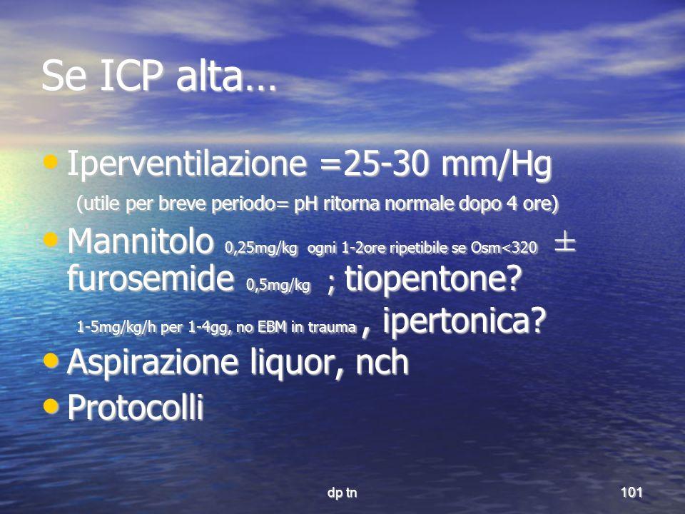 Se ICP alta… Iperventilazione =25-30 mm/Hg
