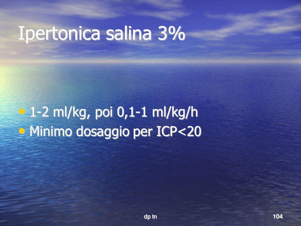 Ipertonica salina 3% 1-2 ml/kg, poi 0,1-1 ml/kg/h