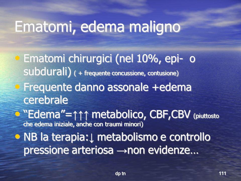 Ematomi, edema maligno Ematomi chirurgici (nel 10%, epi- o subdurali) ( + frequente concussione, contusione)