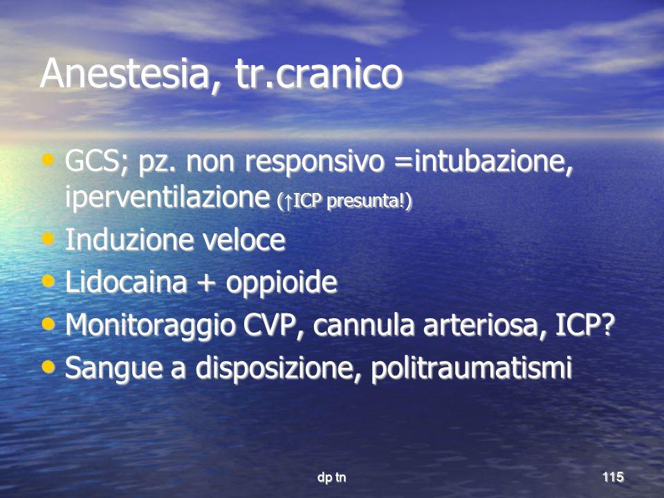 Anestesia, tr.cranico GCS; pz. non responsivo =intubazione, iperventilazione (↑ICP presunta!) Induzione veloce.