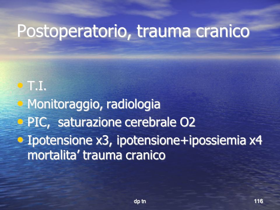 Postoperatorio, trauma cranico