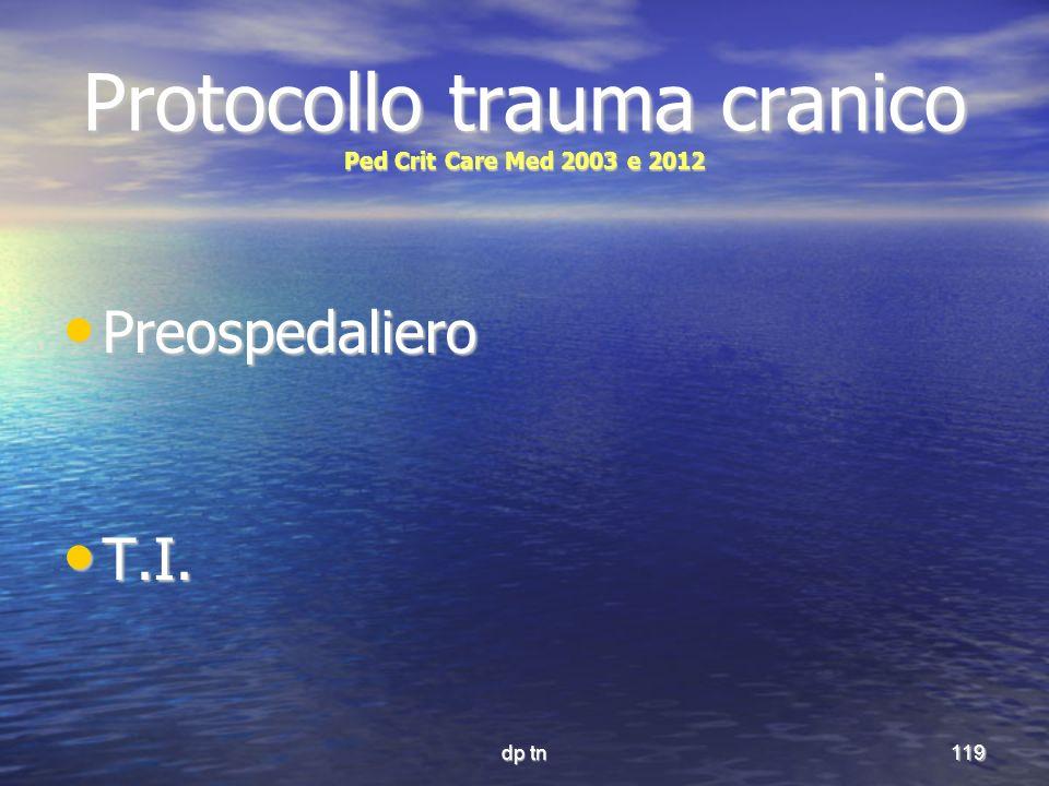Protocollo trauma cranico Ped Crit Care Med 2003 e 2012