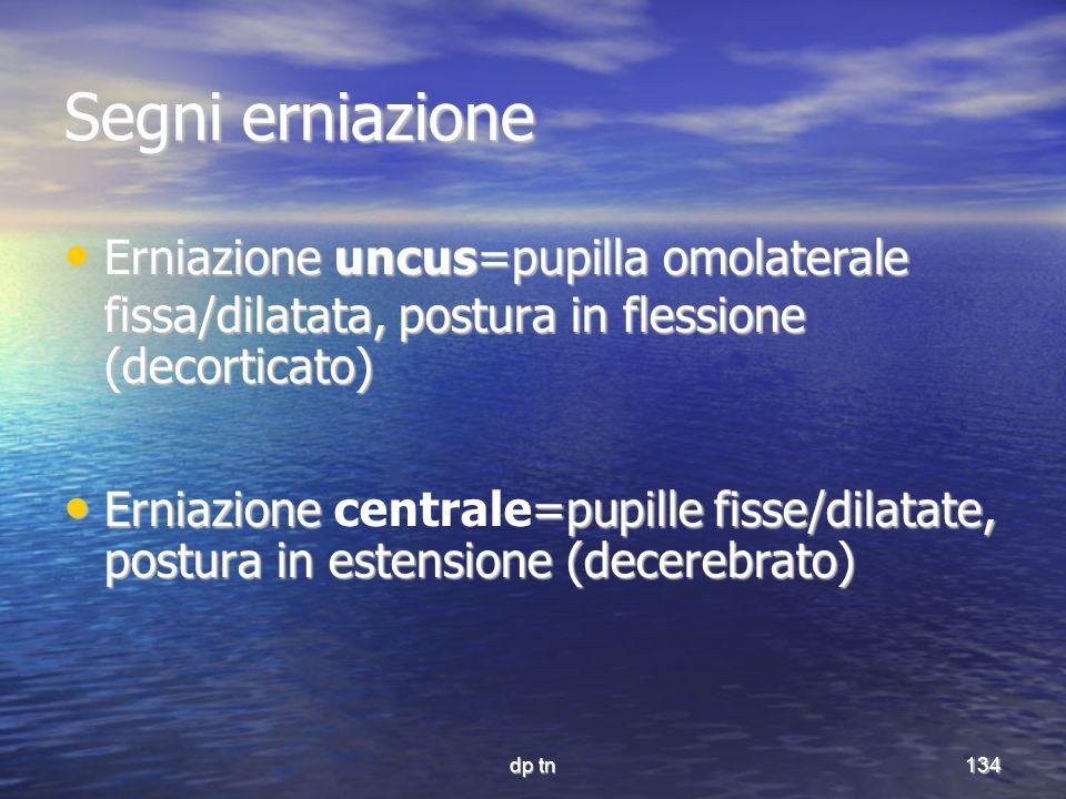 Segni erniazione Erniazione uncus=pupilla omolaterale fissa/dilatata, postura in flessione (decorticato)