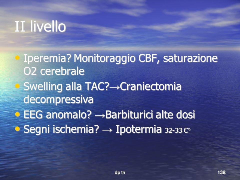 II livello Iperemia Monitoraggio CBF, saturazione O2 cerebrale