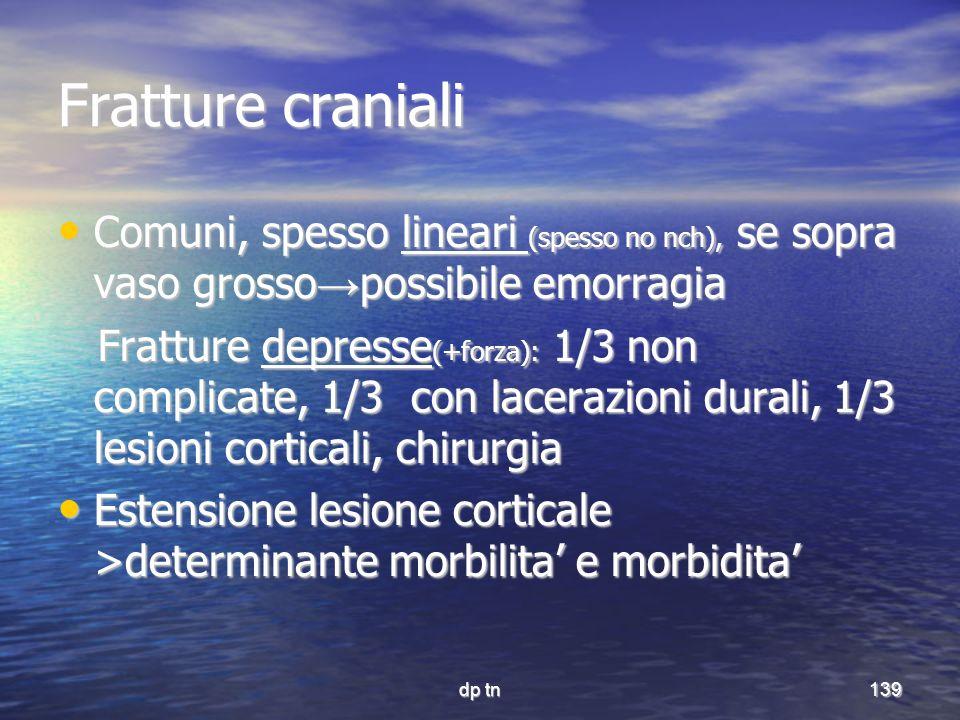 Fratture craniali Comuni, spesso lineari (spesso no nch), se sopra vaso grosso→possibile emorragia.