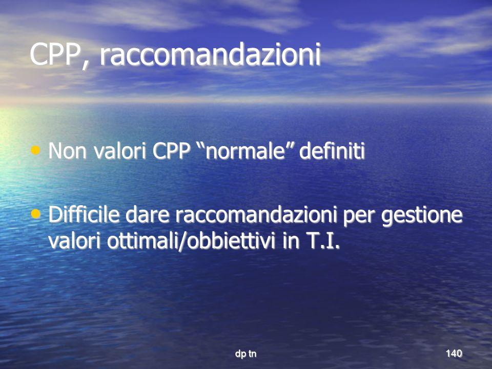 CPP, raccomandazioni Non valori CPP normale definiti
