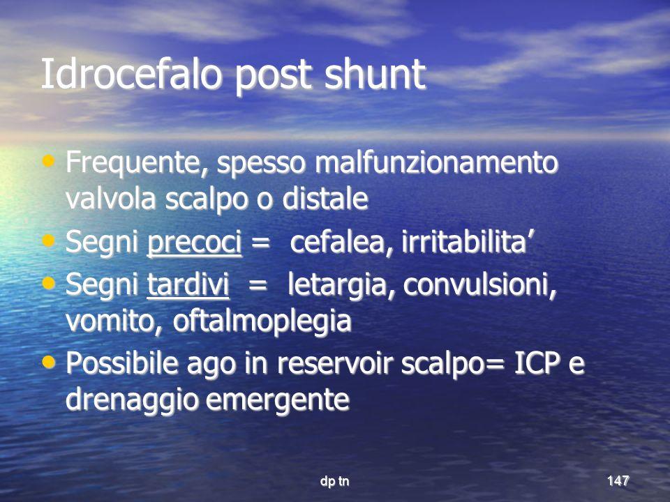 Idrocefalo post shunt Frequente, spesso malfunzionamento valvola scalpo o distale. Segni precoci = cefalea, irritabilita'