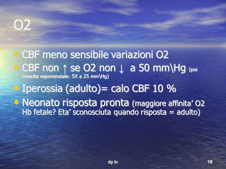 O2 CBF meno sensibile variazioni O2