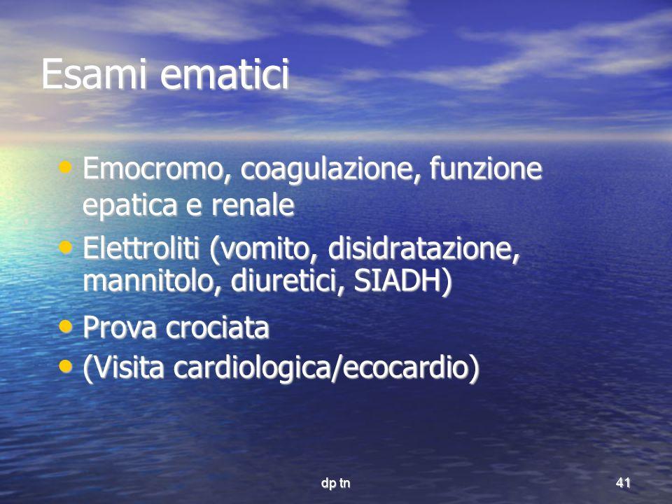 Esami ematici Emocromo, coagulazione, funzione epatica e renale