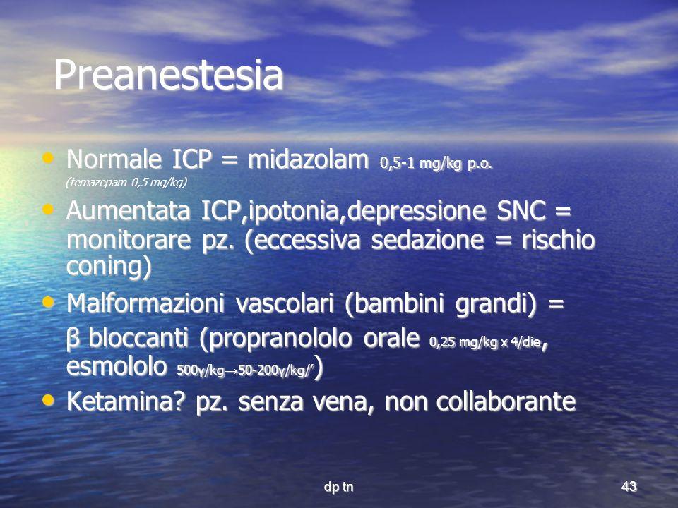 Preanestesia Normale ICP = midazolam 0,5-1 mg/kg p.o.