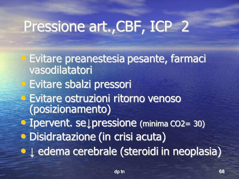 Pressione art.,CBF, ICP 2 Evitare preanestesia pesante, farmaci vasodilatatori. Evitare sbalzi pressori.