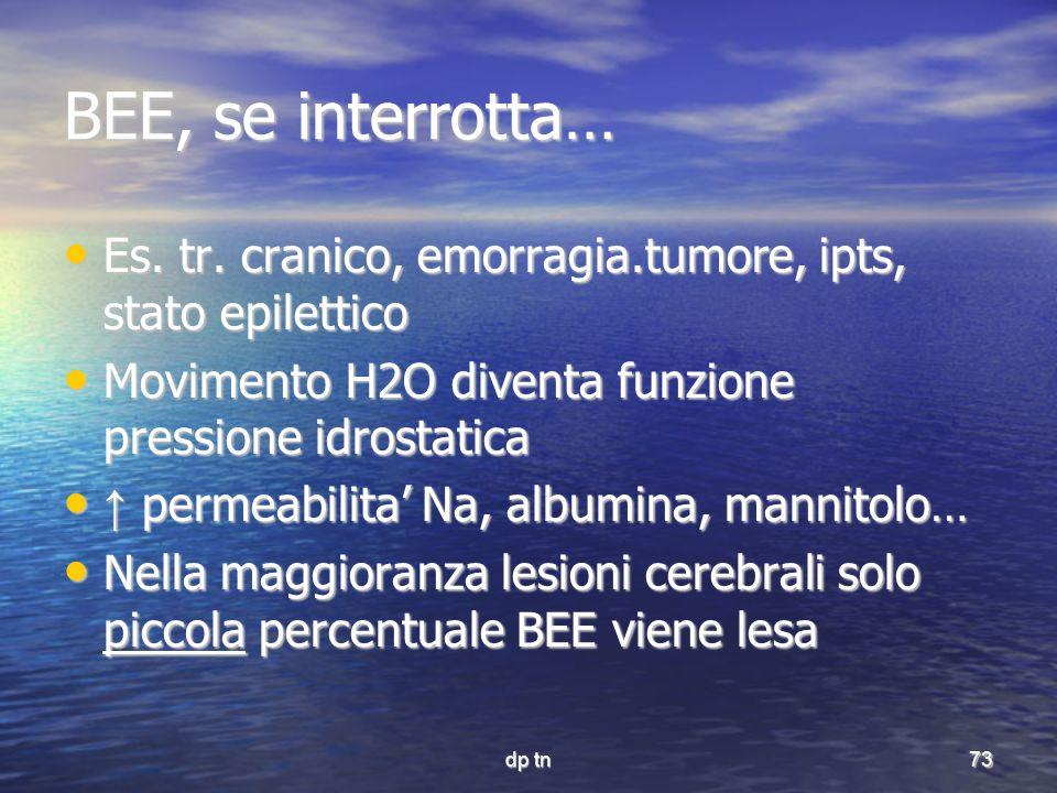 BEE, se interrotta… Es. tr. cranico, emorragia.tumore, ipts, stato epilettico. Movimento H2O diventa funzione pressione idrostatica.