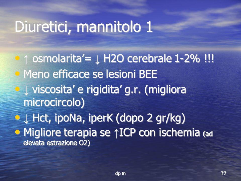 Diuretici, mannitolo 1 ↑ osmolarita'= ↓ H2O cerebrale 1-2% !!!