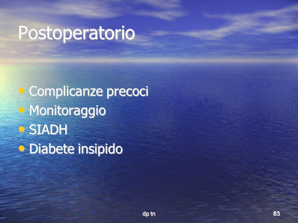 Postoperatorio Complicanze precoci Monitoraggio SIADH Diabete insipido