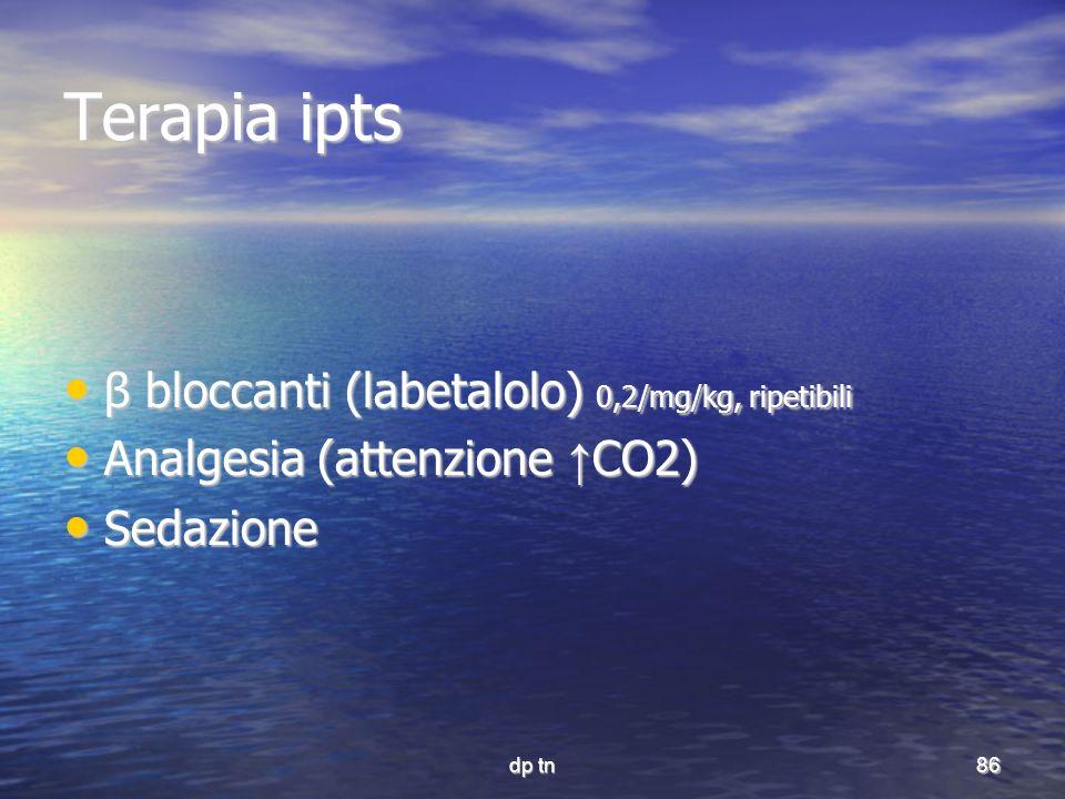 Terapia ipts β bloccanti (labetalolo) 0,2/mg/kg, ripetibili