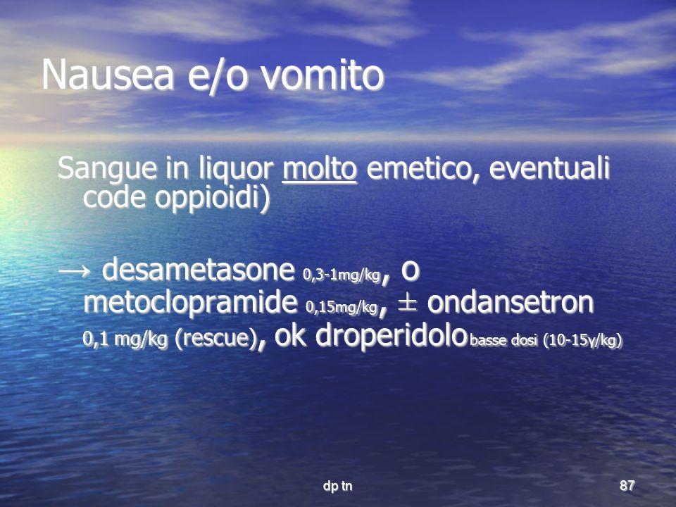 Nausea e/o vomito Sangue in liquor molto emetico, eventuali code oppioidi)