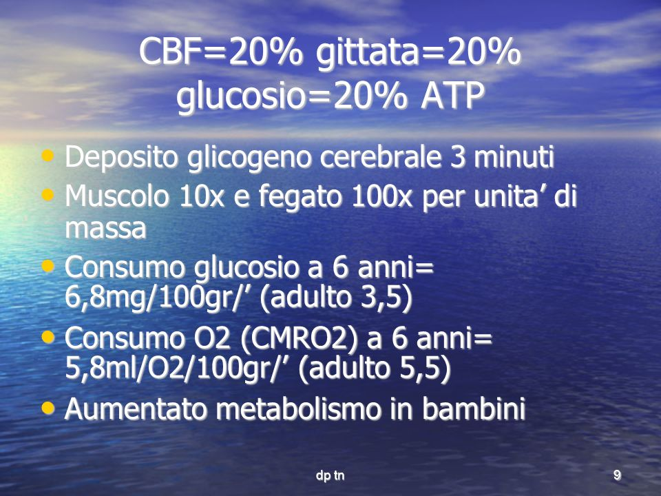 CBF=20% gittata=20% glucosio=20% ATP