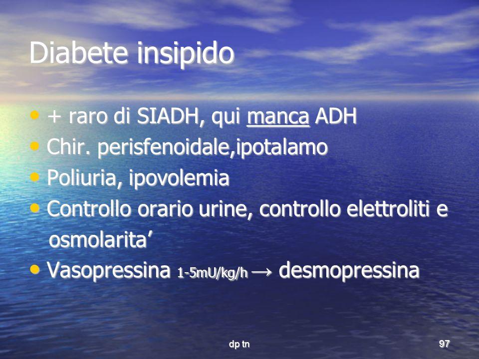 Diabete insipido + raro di SIADH, qui manca ADH