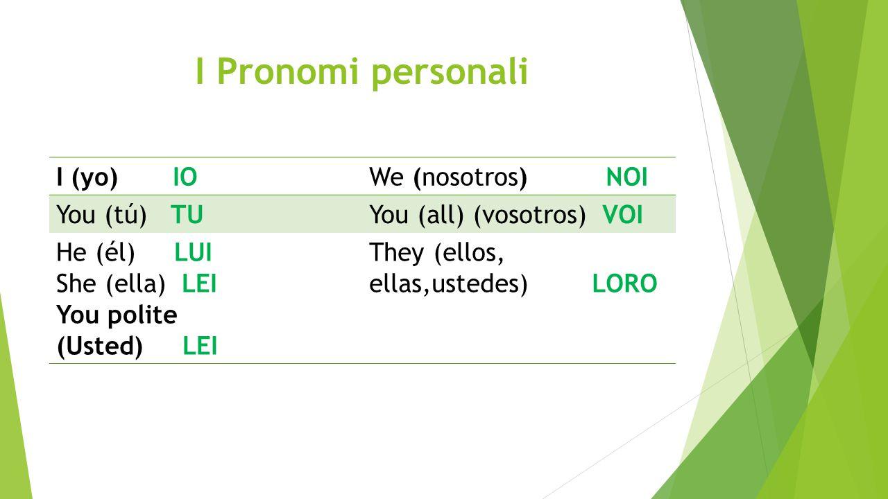 I Pronomi personali I (yo) IO We (nosotros) NOI You (tú) TU