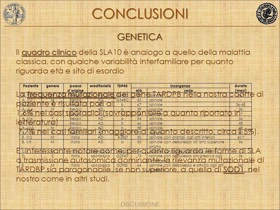 CONCLUSIONI GENETICA.