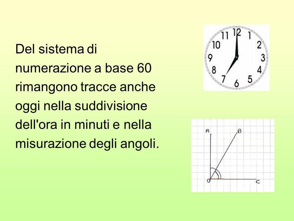 Del sistema di numerazione a base 60. rimangono tracce anche. oggi nella suddivisione. dell ora in minuti e nella.