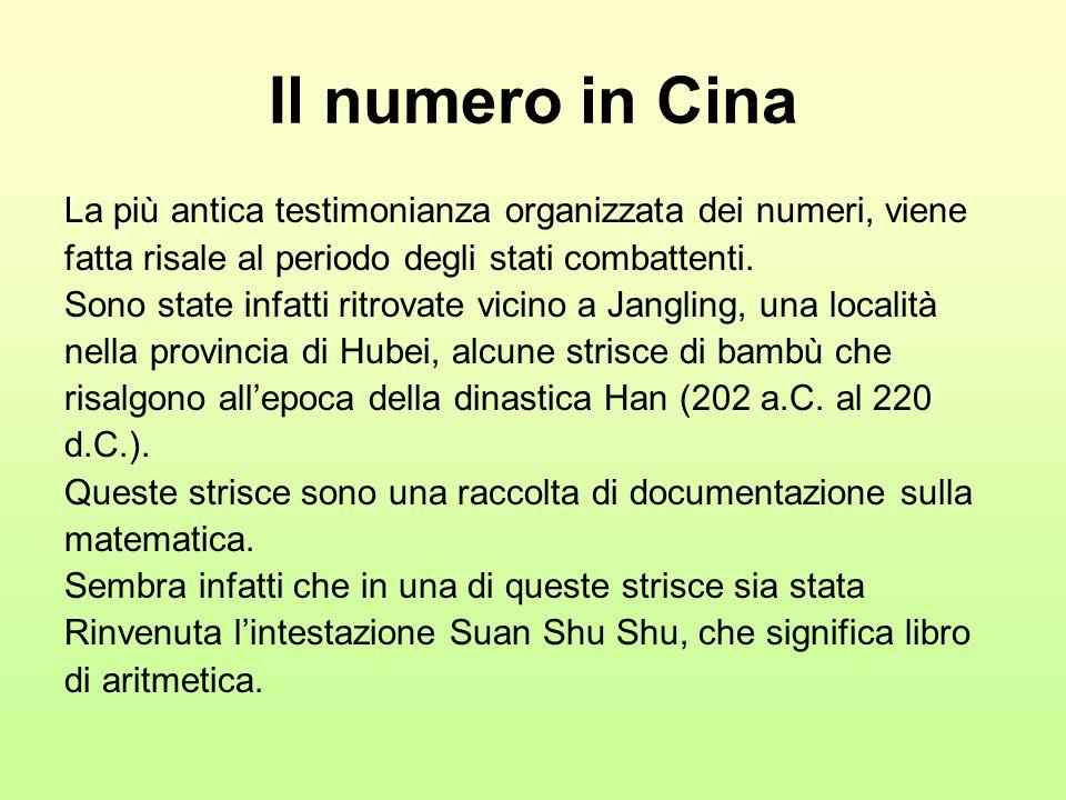 Il numero in Cina La più antica testimonianza organizzata dei numeri, viene. fatta risale al periodo degli stati combattenti.