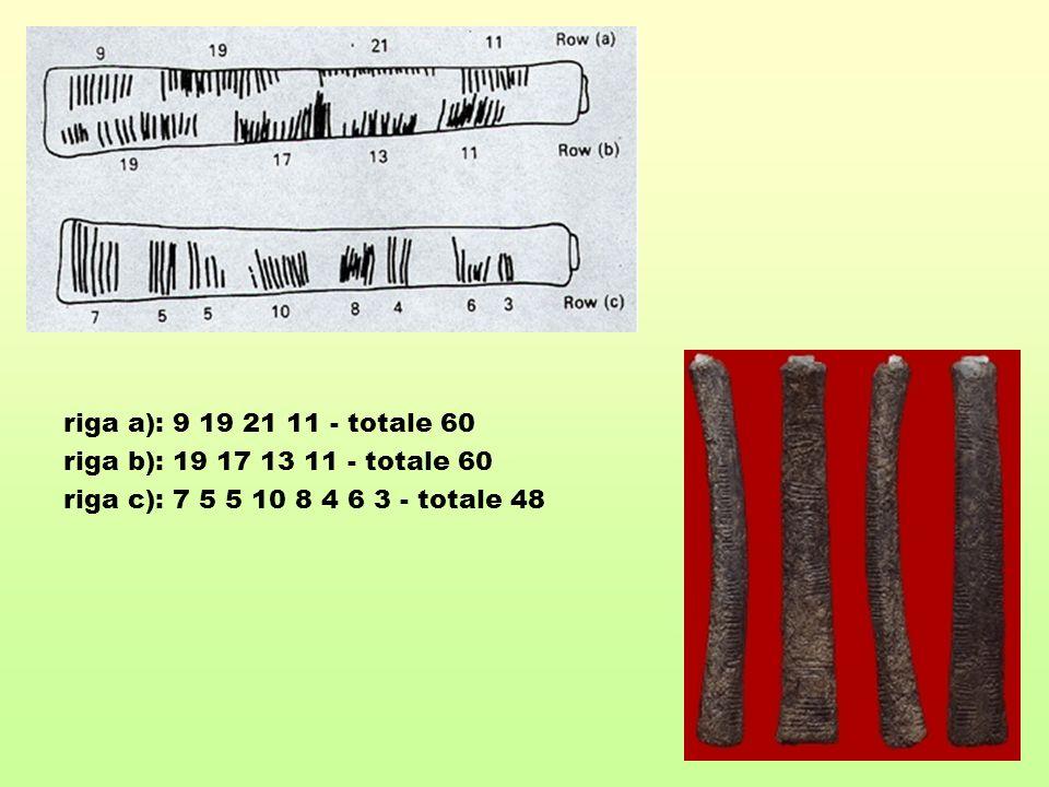 riga a): 9 19 21 11 - totale 60 riga b): 19 17 13 11 - totale 60.