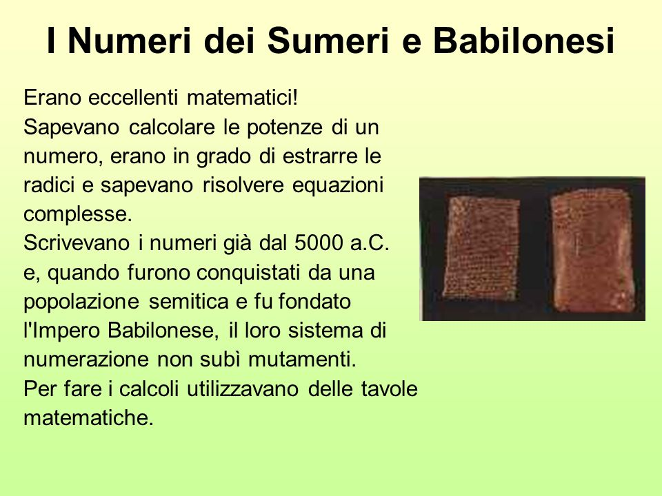 I Numeri dei Sumeri e Babilonesi