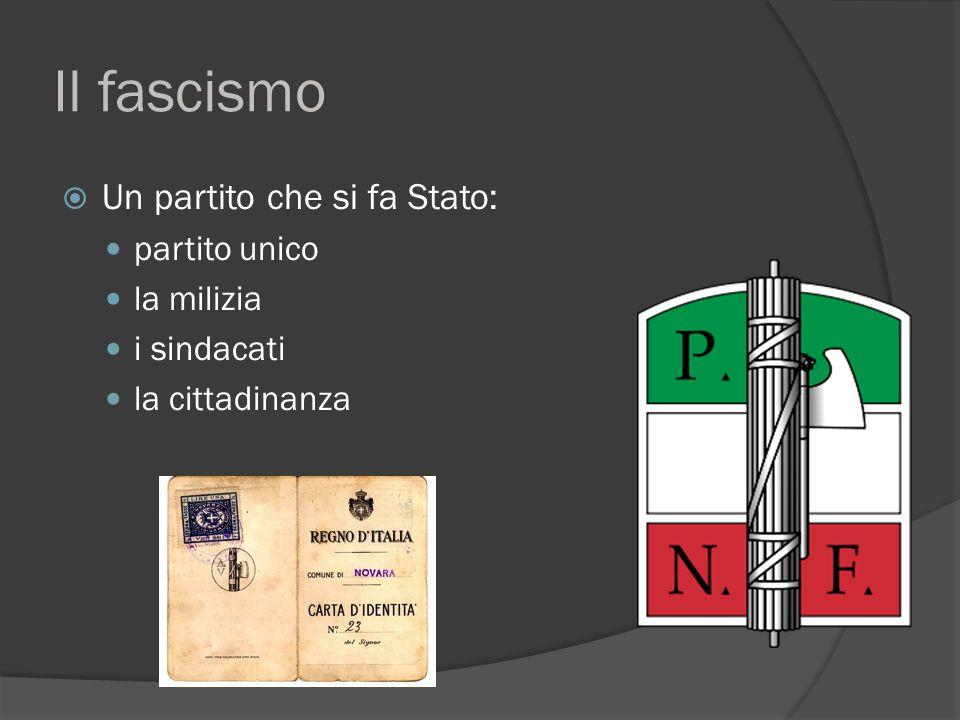 Il fascismo Un partito che si fa Stato: partito unico la milizia