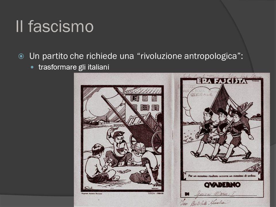 Il fascismo Un partito che richiede una rivoluzione antropologica :