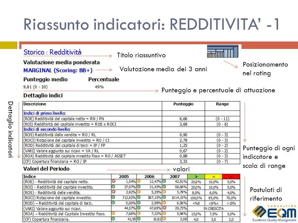 Riassunto indicatori: REDDITIVITA' -1