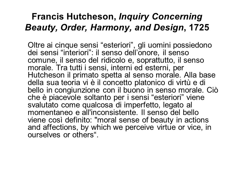 Francis Hutcheson, Inquiry Concerning Beauty, Order, Harmony, and Design, 1725