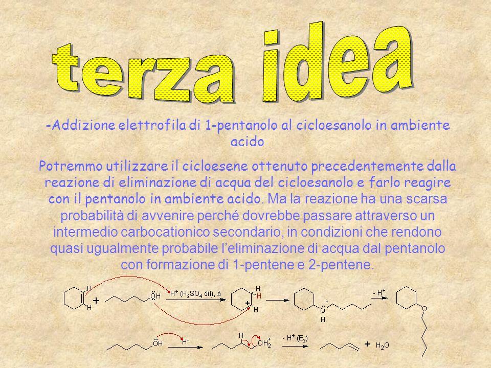 terza idea -Addizione elettrofila di 1-pentanolo al cicloesanolo in ambiente acido.