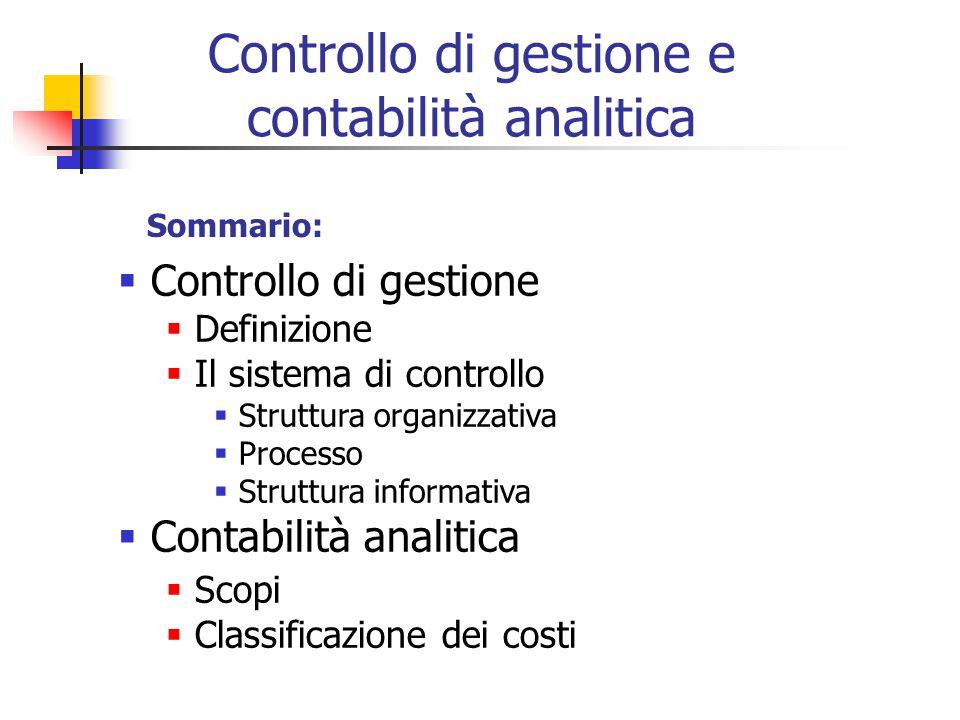 Controllo di gestione e contabilità analitica