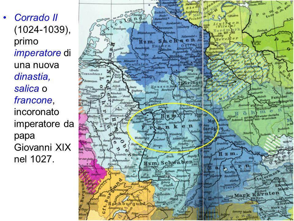 Corrado II (1024-1039), primo imperatore di una nuova dinastia, salica o francone, incoronato imperatore da papa Giovanni XIX nel 1027.