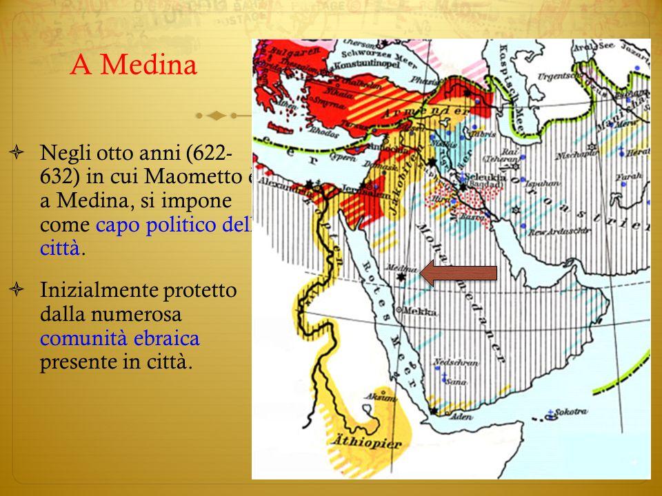 A MedinaNegli otto anni (622- 632) in cui Maometto è a Medina, si impone come capo politico della città.