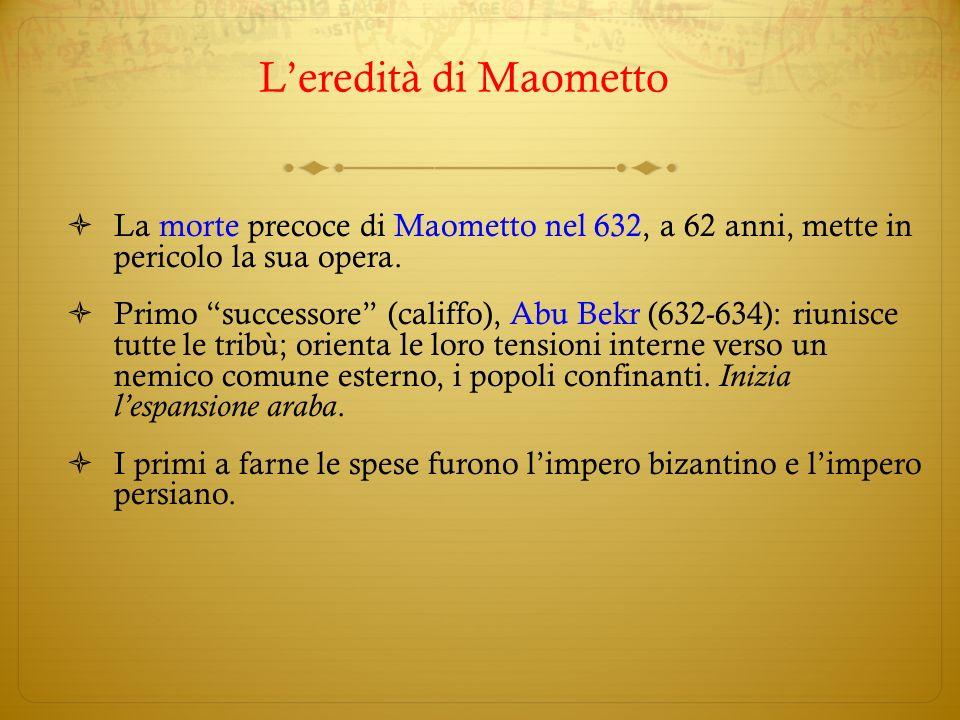 L'eredità di Maometto La morte precoce di Maometto nel 632, a 62 anni, mette in pericolo la sua opera.