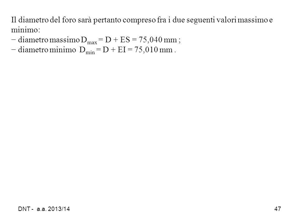 diametro massimo Dmax = D + ES = 75,040 mm ;