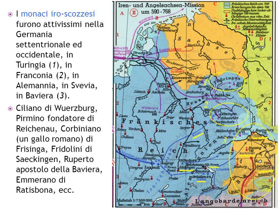 I monaci iro-scozzesi furono attivissimi nella Germania settentrionale ed occidentale, in Turingia (1), in Franconia (2), in Alemannia, in Svevia, in Baviera (3).