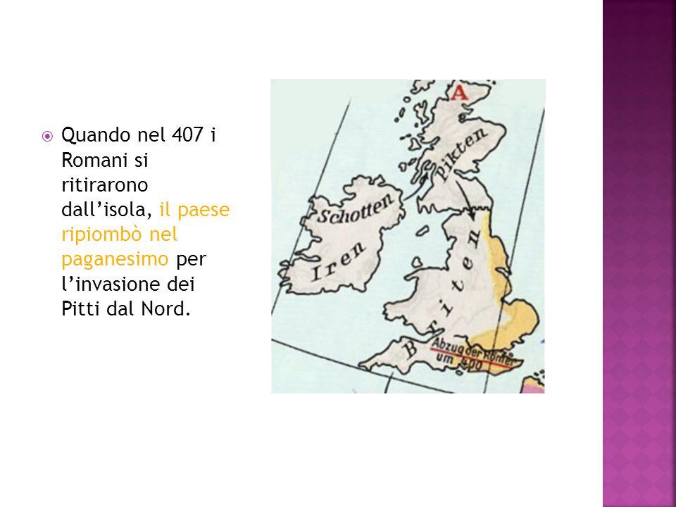 Quando nel 407 i Romani si ritirarono dall'isola, il paese ripiombò nel paganesimo per l'invasione dei Pitti dal Nord.